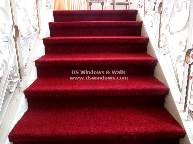 Installed Red Carpet For A Staircase Makeover at Ayala Heights, Quezon City Philippines