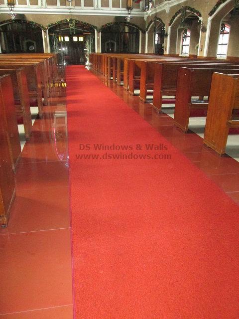 Red Broadloom Carpet Installed in Church Aisle - Ermita Manila, Philippines